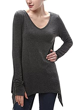 La Mujer Elegante Deep V Neck Long Sleeve Swing Tunic T Shirt Blusas Tops Irregular