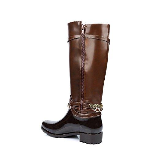 Ideal Shoes-Stiefel, Regen, bi-Material, mit Laurinda koppeln Braun - braun