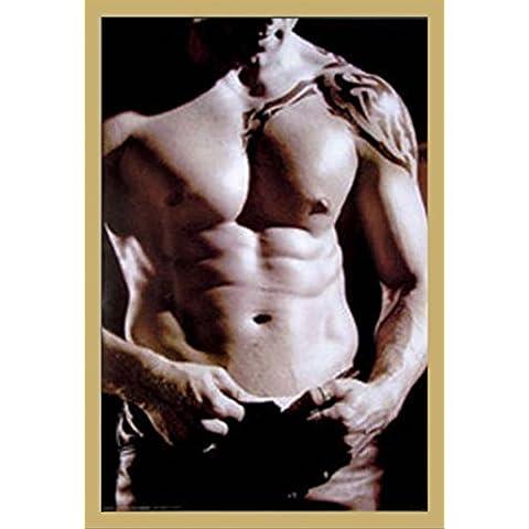"""Bianco e nero, maschio-Poster Sexy del tronco Poster Maxi Poster app è grandiosa. """", 61 x 91,5 cm, Cornice in MDF, oro, 61 x 91,5 cm"""