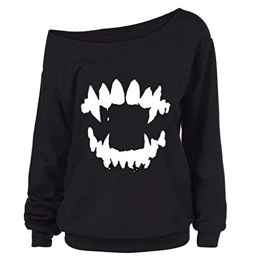 Innerternet Damen Langarmshirt Halloween Gothic Punk Teufel Zähne Gedruckt Off Shoulder Langarmshirt Pullover Rundhals Gestreift Elegant Tuniken Casual Oberteile Hemd