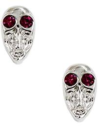 Generic Hip Punk Skull Head Charm Ear Studs Earrings With Rhinestone Eyes Silver