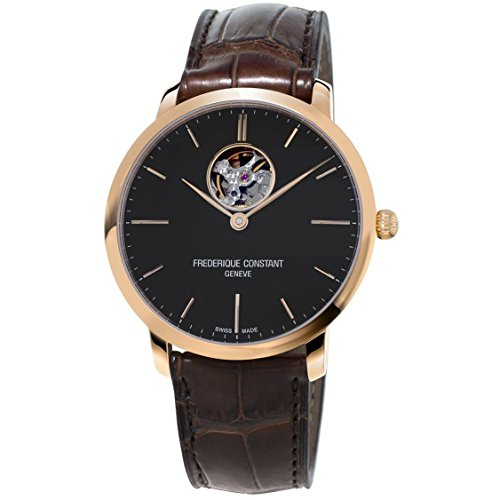 Frederique Constant Men's Slimline 40mm Leather Band Rose Gold Plated Case Automatic Watch FC-312G4S4