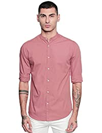 Dennis Lingo Men's Solid Slim Fit Casual Shirt (CC201_Dustypink_Dustypink)