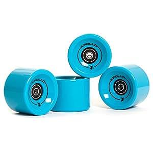 Apollo Roues Longboard, Profi Wheels, Set de Roues | 78A - 70mm | de la Marque, Label Tendance et Exclusif y Inclus roulements à Bille ABEC-7 | Couleur: Solid Blue – Rouleaux de Remplacement
