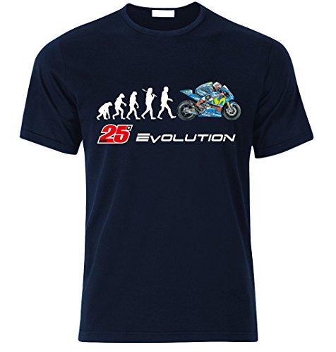 Biker EVOLUTION Yamaha M1 R1 Moto GP 25 Vinales Fan T Shirt T-SHIRT Navy Blau