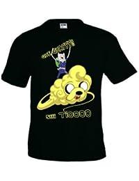 Camiseta Finn y Jake Hora de aventuras nube Kinton, manga corta (Talla: Talla