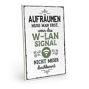 ARTFAVES Holzschild mit Spruch - AUFRÄUMEN MUSS Man ERST - WLAN - Vintage Shabby Deko-Wandbild/Türschild