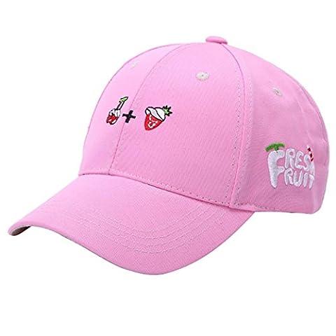 Sommer Baseball Holeider Kappe Einstellbar Frucht Muster Gestickt Golf Hut (Rosa) (Kind Blau-ara-kostüm)