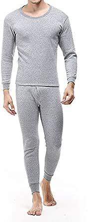Men's Autumn Winter Thermal Inner Wear Set Sleepwear Pajama Tops+Pants