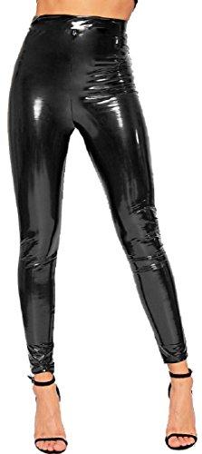 (Verrückte Mädchen Frauen Vinyl Leggings Damen PVC Wet Look Shiny Disco Hohe Taille Skinny Hosen Hosen EU 36-42 (EU36 - UK8, Schwarz))