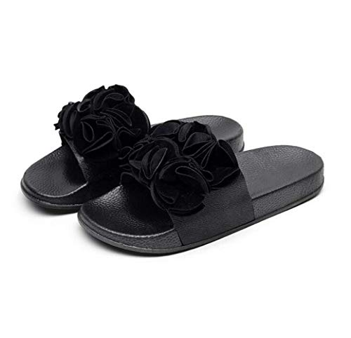 Women's Summer Flat Sandals Flower Band Open Toe Ankle Strap Platform Sandals Fashion Party Wedding Platform Shoes for Women (Black) Ankle Strap Platform Sandal