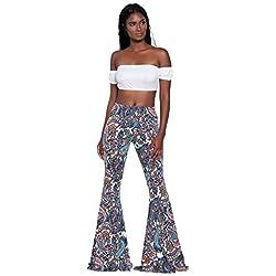 Pantalones de Mujer Verano SUNNSEAN Pants Estampado de Flores Cintura Alta Pantalones de Campana de Pantalones Largos Ocasionales Pantalones Anchos de Pierna Ancha Pantalón de Yoga