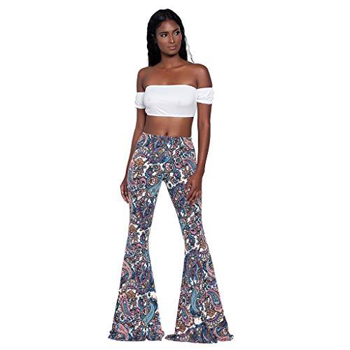 Pantalones de Mujer Verano SUNNSEAN Pants Estampado de Flores Cintura Alta Pantalones de Campana de...