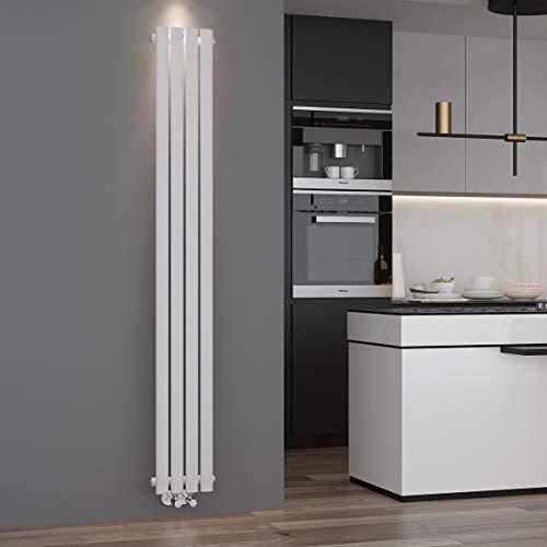 ELEGANT Design Paneelheizkörper Röhren 1800 x 236 mm Weiß Einlagig Badheizkörper Mittelanschluss Vertikal Röhren Heizkörper