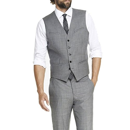 MYS da uomo personalizzata Groomsman 5Pulsante Gilet e pantaloni, colore: grigio Grey Su Misura