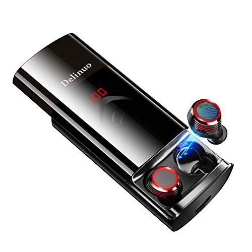 【2019 Neuestes Schiebeverschluss】 Delinuo Bluetooth Kopfhörer Kabellos In Ear Ohrhörer Noise Cancelling Sport Wireless Bluetooth 5.0 Headset mit 6000mAh Batterie / IPX6 / Mikrofon/Digitales Display Digital Headset