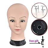 Wansi Bald femmina testa di manichino formazione testa calva testa bambola manichino per realizzare parrucca, occhiali, cappello display con morsetto