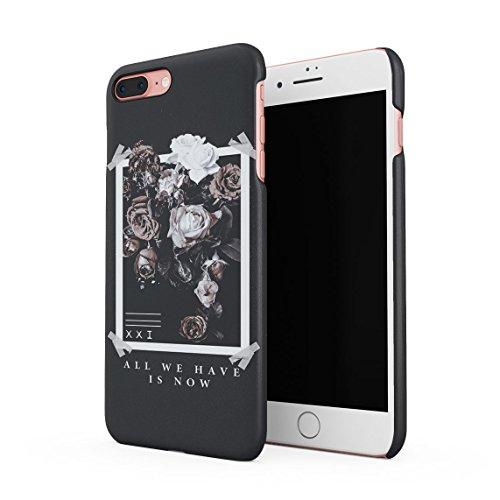 All We Have Have is Now Pale Weiß und Rosa Wild Roses Tumblr Dünne Rückschale aus Hartplastik für iPhone 7 Plus und iPhone 8 Plus Handy Hülle Schutzhülle Slim Fit Case Cover