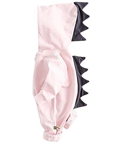 Minetom Baby Herbst Karikatur Dinosaurier Overalls Jumpsuit Klein Jungen Mädchen Ein Stück Lange Ärmel Spieler Rosa (Hündchen-kostüm Für Kleinkind)