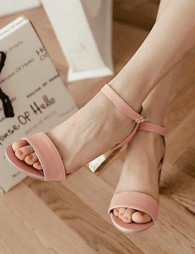 UWSZZ IL Sandali eleganti comfort Scarpe Donna-Sandali-Tempo libero / Ufficio e lavoro / Serata e festa-Spuntate-Quadrato-Finta pelle-Nero / Rosa / Bianco Pink