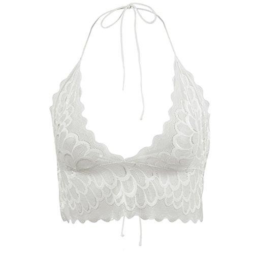 Eleery Damen Spitze Bralette- Sommer Comfort V-neck Bra Crop Top BH Dessous Unterwäsche