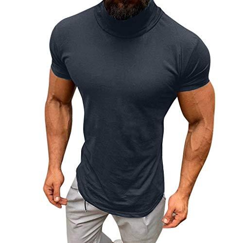 Xmiral Oberteile T-Shirts Herren Beiläufig Frühling Sommer Einfarbig Kurzarm Rollkragen Bluse Baumwolle+Elasthan+Polyester(M,Grau)