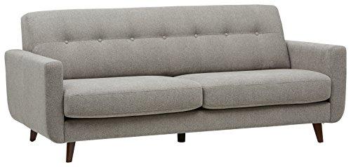 Amazon Marke -Rivet Sloane Modernes, getuftetes Sofa im Stil der 1950er Jahre, B 203cm, Kiesel