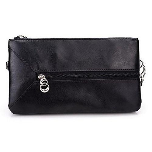 Kroo Pochette Portefeuille en Cuir de Femme avec Bracelet Cuir pour Motorola Nexus 6 Rose - Magenta and Blue noir - Noir/gris