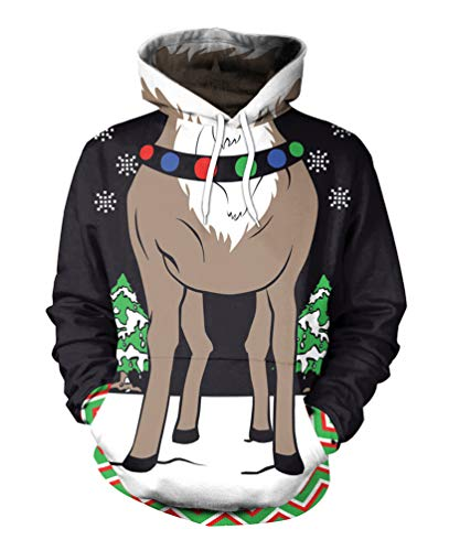 Fuxiang Kapuzenpullover 3D Druck Unisex Herren Sweatshirt Weihnachtsmotiv Pullover Weihnachts Pulli Damen 3D Printed Hoodie Hässlicher Lustig Herbst Winter Weihnachtspullover Schwarz XL