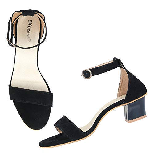 BK DREAM Women's Single Strap Block Heels Black
