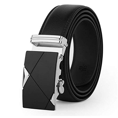 aoliaoyudonggha 2019 New Leather Belts For Men Male Luxury Brand Jeans Automatic Ratchet Buckle (Buckle Automotive Belt)