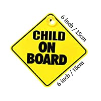 thehomegallery THG® Baby Child On Board Sign Suction Cap Vehicle Car Driving Safety Bright Yellow 150 x 150mm
