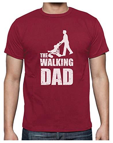 Green Turtle T-Shirts Camiseta para Hombre- Regalos Originales para Padres Primerizos - The Walking Dad Large Burdeos