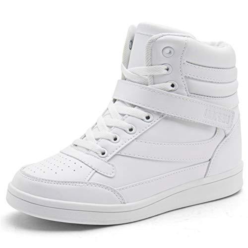 UBFEN Scarpe da Donna Stivali Tacco Interna Alte Sneakers Scarpe con Zeppa Strappo Stealth Stivaletti Ginnastica Sportive Polacchine 39 EU Bianco
