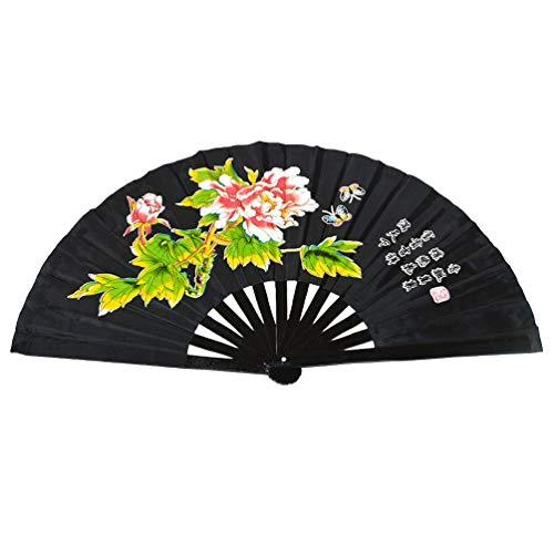 1SourceTek Handfächer für Kung Fu Tai Chi Handfächer faltbar mit Bambusrahmen Chinesisch/Japanisch Vintage Retro Stil, Schwarz (Die Besten Halloween Kostüme Für Tanz)
