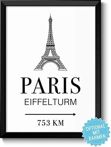 Paris Eiffelturm mit Entfernungsangabe Geschenk (Wert Stadt)