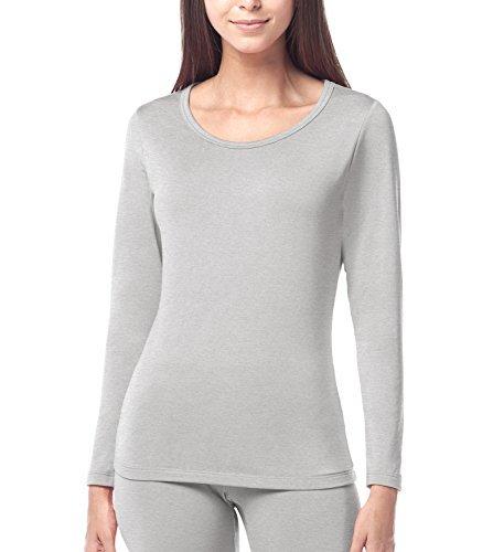 Lapasa donna maglia termica - ti tiene al caldo senza stress- t-shirt invernale maniche lunghe l15 (xl(seno 94-98 cm), grigio chiaro)