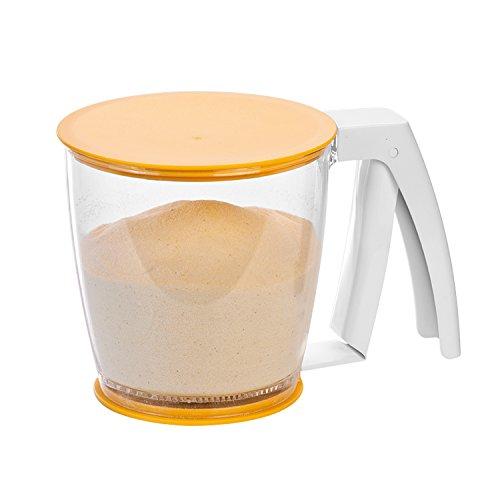 Tescoma 630341 mechanisches Mehlsieb aus Kunststoff BPA Frei, 17.5  x  11.7  x  11.6 cm, Transparent /Orange