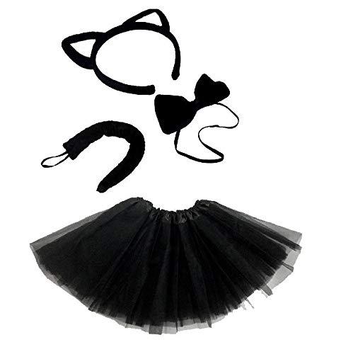 Unbekannt Schwarze Katze Kinder oder Damen Kostüm - Black CAT Costume Set - vertrieb durch ABAV (Komplett Set (Kind Tutu Black Cat Kostüm)