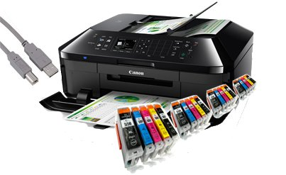 Canon PIXMA MX725 All-in-One Multifunktionsgerät USB/WLAN/LAN/Apple AirPrint (Drucker, Scanner, Kopierer und Fax) + USB Kabel & 20 YouPrint Druckerpatronen - Originalpatronen ausdrücklich nicht im Lieferumfang