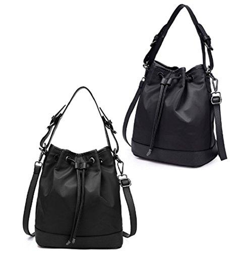 Ladies singola borsa a tracolla,borsa di tela,borsa a secchiello,portatile/messenger bag-nero nero