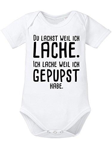 clothinx Baby Body Unisex Gepupst Weiß/Schwarz Gr. 62-68