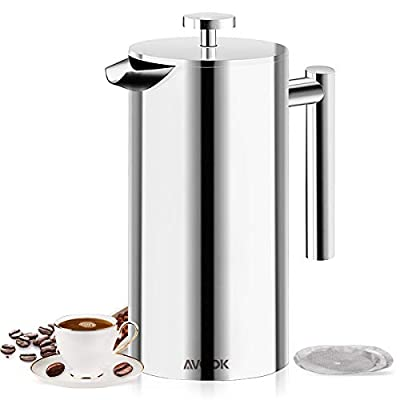 Cafetière 1L Coffee Press, AVOOK French Press, Steel Cafetiere with Double-Walled Stainless Steel; Tea Press Come with 3 Pieces Replaceable Filter Screen from Tiantu