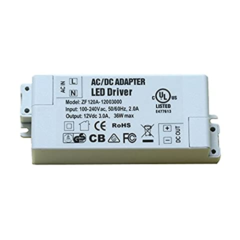 ADOGO LED Transformer LED Power Supply- 36W, 12V DC, 3A - Constant Voltage for LED Strip Lights and G4, MR11, MR16 LED Light Bulbs