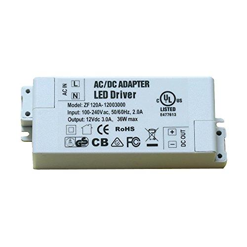OBQ 36W LED Trafo / Treiber, 12V DC, 3A Konstantspannung für LED, einschließlich LED-Scheinwerfern und MR11, MR16, G4 LED Leuchtmittel (Treiber Glatte)