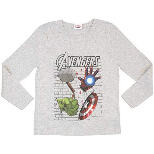 Marvel Avengers Endgame Captain America Jungen T-Shirt   Langärmliges, grau meliertes Baumwolloberteil für Kinder und Jugendliche (9/10 Jahre)
