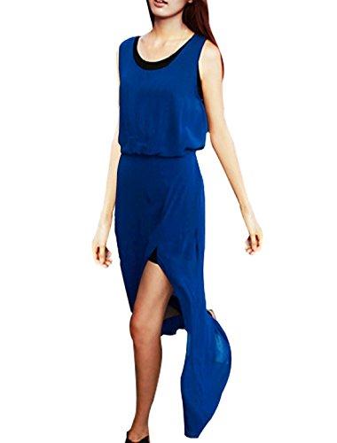 Femmes Split Ourlet Col Rond élastique Tank robe a/ Gilet Bleu Roi S Bleu Roi