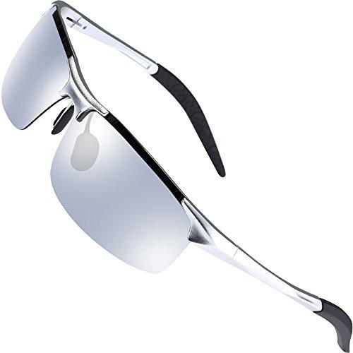 wearpro Herren Sonnenbrillen Driving Sports Sonnenbrillen Polarisiert Al-Mg Metal Frame for Fising Cycling WP1005 (Silver)