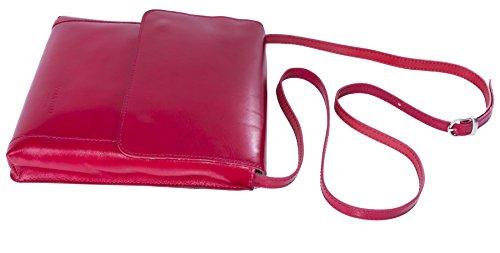 Big Handbag Shop mittelgroße Damen Schultertasche Cross Body aus echtem itelienischem Leder Dark Tan - Plain