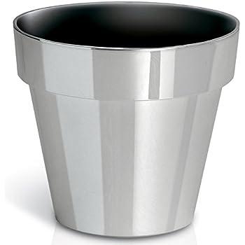 set of 2 indoor plant pots aluminium silver. Black Bedroom Furniture Sets. Home Design Ideas